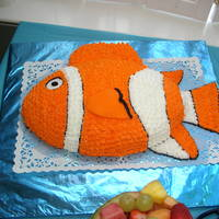 Nemo Cake This was for my daughter's birthday. Football cake pan and lots of orange icing! Cake done in February 2004