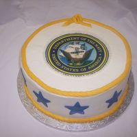 Navy Cake  Chocolate fudge cake with buttercream icing and fondant accents (Edible image transfer). It was my first edible image. I bought three of...