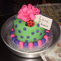 Color Explosion 6 inch round fondant cake with ladybug and fondant bowgreen,pink, purple
