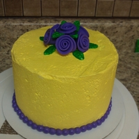Yellow With Purple Roses