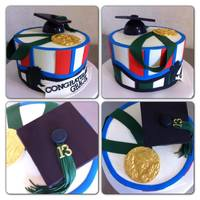 "Graduation Cake 8"" round Fondant and buttercreamSalutatorian Medal"