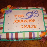Fundraising Cake For Church This was inspired by a previous post. (I needed a sheet cake design) It could easily be a birthday cake. Iced in BC, but stripes, flowers...