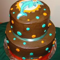 Miami Dolphins Chocolate cake with chocolate BC icing. Frozen Buttercream Transfer logo. For Father-in-law.
