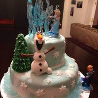 Disney Frozen Birthday Cake Olaf is fondant, princesses are obviously figurines, ice behind Elsa is pulled sugar and isomalt. Rock candy around the bottom border.