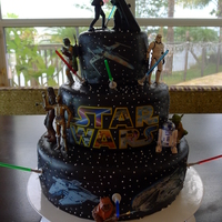 Star Wars Cake Star Wars cake made with black fondant, edible images and figurines. Okay, I cheated a lot but my son didn't seem to mind!