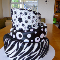 Black And White Topsy Turvy Cake 3 Layers Black and White Topsy Turvy Cake