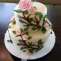 Flower Vine Cake Super easy to make since I used premade gumpaste roses!