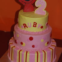 Ruby's Girly Elmo wanted a girlier elmo cake for Ruby's 2nd birthday...decided on this.i waited to put the topper on until we got to the party...and...