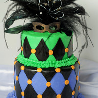 Mardi Gras Birthday thought i loaded this before, but must not have.for a birthday. 6 and 4 inch cakes. fondant mask