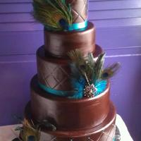 Chocolate Brown Peacock Wedding Cake *