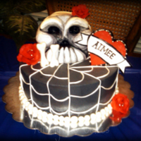 Skull & Roses Cake With Spider Web Design