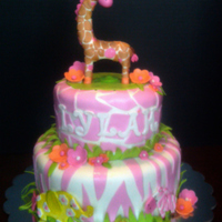 "Jungle Jill Baby Shower Cake Inspired by the ""Jungle Jill"" bedding collection, 8"" and 6"" strawberry cake with strawberry filling. 3D giraffe was..."