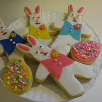 Easter Bunnies Easter Bunny cookies I made to send to my sister. I will use these for Easter Sunday luncheon place settings.