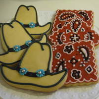 Western Cookies These were made for a client whose daughter ropes and barrel races. First time I tried the bandana print. I was very pleased with the...