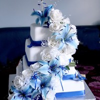 Blue Lilies And White Roses