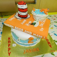 Dr. Seuss 2Nd Birhday Cake   Dr. Seuss with Green Eggs and Ham Book, Cat in the Hat, hat and fishbowl