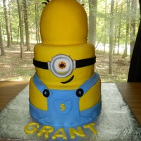 Wedding Style Minion Cake  The boy who wanted this Minion Cake, wanted it to be done like a wedding cake. I love his imagination. This year he wanted the Gru cake I...
