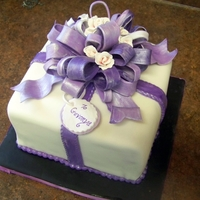 "Gift Cake 8"" Square cake with gumpaste bow"