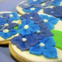Hydrangea Cookies Sugar cookies with fondant.