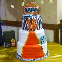 "Hollywood Sweet 16 12"" 10"" 8"" cakes. Hand-painted zebra stripes on top tier"