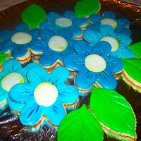 Blue Floral Cookies Fondant on sugar cookies