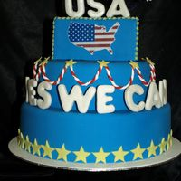 Yes We Can! We made the cake for a special American exhibition, it would fit a 4th of July celebration!