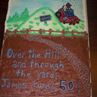 Lawn Mower Over the hill and through the yard this old man is for hire. All free hand on a full sheet 1/2 white and 1/2 choc.
