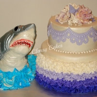 "Shark! Yes! A strange combination, indeed! This was made for a ""girly girl"" who loves purple and sharks. The shark was made with RKT...."
