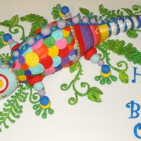 Oliver's Chameleon Thanks to Colette Peters for the inspiration for this cake! I made the chameleon from RKT. He was 2 feet long!. The cake was chocolate/...