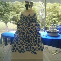 Uk Blue Buttercreme icing, with blue fondant flowers.