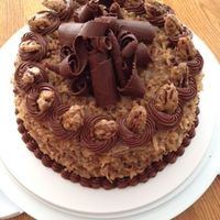 German Chocolate Birthday Cake With Maple Glazed Pecans And Chocolate Curls   German Chocolate birthday cake with maple glazed pecans and chocolate curls