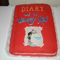 Diary Of The Whimpy Kid   French Vanilla Cake w/ Fondant. Was gonna try to trace the picture but had to do freehand; also the letters done freehand.