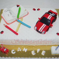Car And Notbook Acake for boys, who likes cars and drawing pics