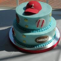"Sports Cake Boy's First Birthday 6"", 8"" buttercream, fondant accents"
