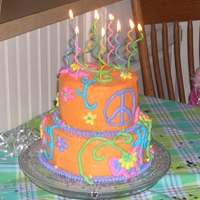 Retro Peace Birthday Cake  This cake's theme is Retro Peace style. It was for my daughter's 9th birthday. Icing is buttercream as well as the details. Party...