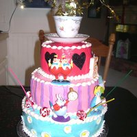 Alice In Wonderland Birthday Cake This cake theme is Alice in Wonderland for my daughter's 5th birthday. The icing is buttercream. I used an actual teacup on top and...