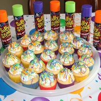 Silly String Cupcakes For my son's 9th birthday - scavenger hunt and silly string party!