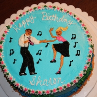 "Shag Dance   Made this ""Shag Dancing"" cake for my husband's secretary. All deorating is buttercream."