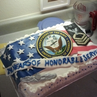 Navy Senior Chief Retirement Carrot cake with cream cheese frosting...fondant pieces and sugar sheets for the flag's stripes.