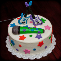 Rock Star Birthday Cake was made for a brother and sister sharing a birthday party. Both were receiving guitars for their birthday.
