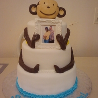 Babyshower Monkey Cake Entire cake is edible. Monkey head is made of RKTs covered in fondant. Pic Frame made of 50/50 mixture w/edible photo inside.