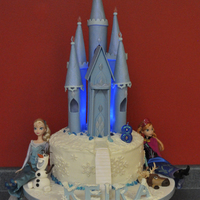 Frozen All edible, except the Barbie dolls and #8 candle. Put blue lights inside the castle to make it glow.