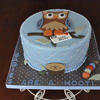"Babies Are A Hoot! 9 inch buttercream with fondant accents. Cake inspiration from ""The icing on the Cake Art You Can Eat,"" blog."