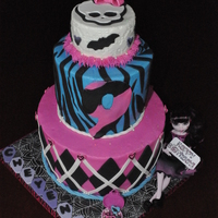 Monster High 3,6,9 inch buttercream with fondant accents. The cake was hot pink and teal zebra striped inside.