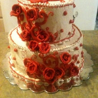 Scrolls, Roses Small wedding cake for an intimate wedding. My first wedding cake. SMBC over Red Velvet.