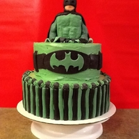 Green Batman! Yes, Green   Birthday boy requested a green batman cake. Batman is RKT with fondant. Cake is SMBC w/ fondant accents.