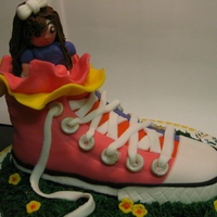 Converse Cake Chocolate mud cake covered in vanilla buttercream and fondant.
