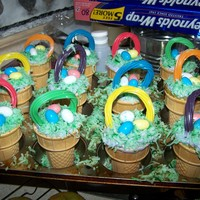 Easter Basket Cupcake Cones Simple Vanilla Cupcake cones with died coconut for grass, tropical flavor Twizzlers for basket handles and robins eggs for the well eggs...