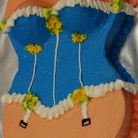 Bachelorette Party Boustier Cake 2 heart shapped pans, ends cut off, half ball pans for chest, all buttercream