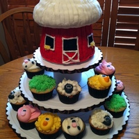 Farm Cupcakes   Got my idea from Wonderful cakes/cupcakes on here as well as Wilton. Barn is giant cupcake mold, animals heads are fondant.